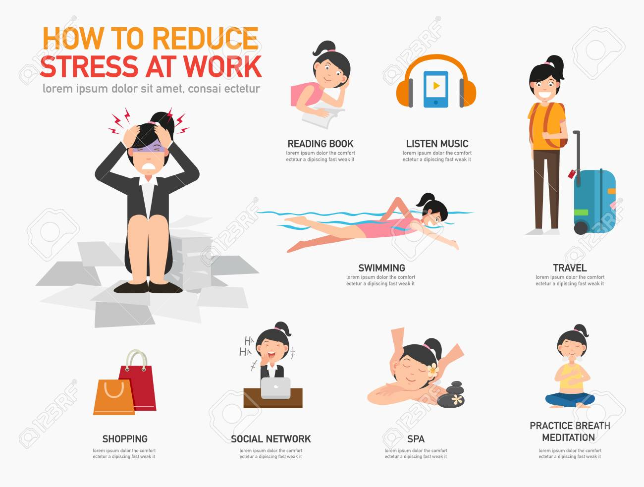 How to reduce stress at work. - 104982076