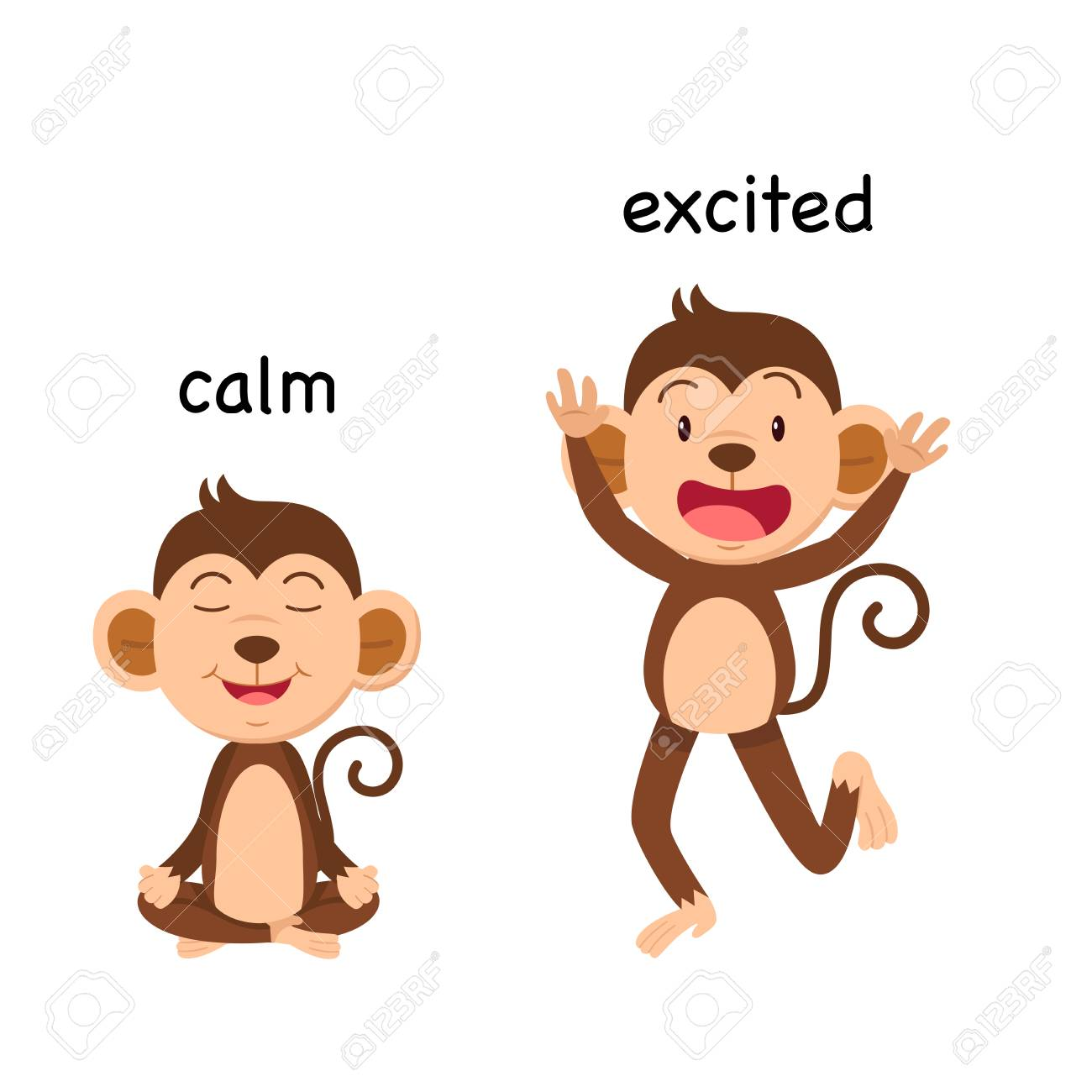 Opposite calm and excited enemy vector illustration - 114826790