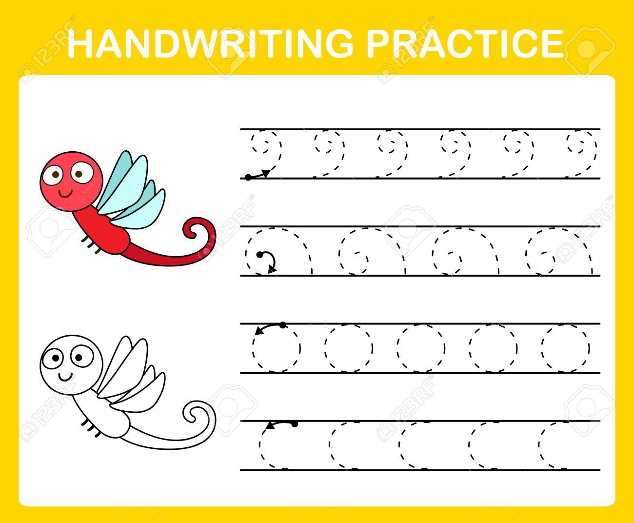Handwriting practice sheet illustration vector - 105391302