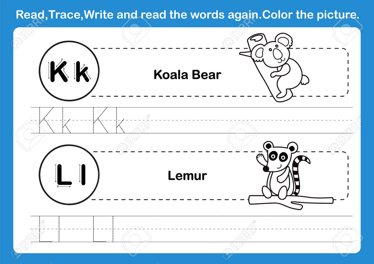 Alphabet K-L exercise with cartoon vocabulary for coloring book illustration, vector - 167288119