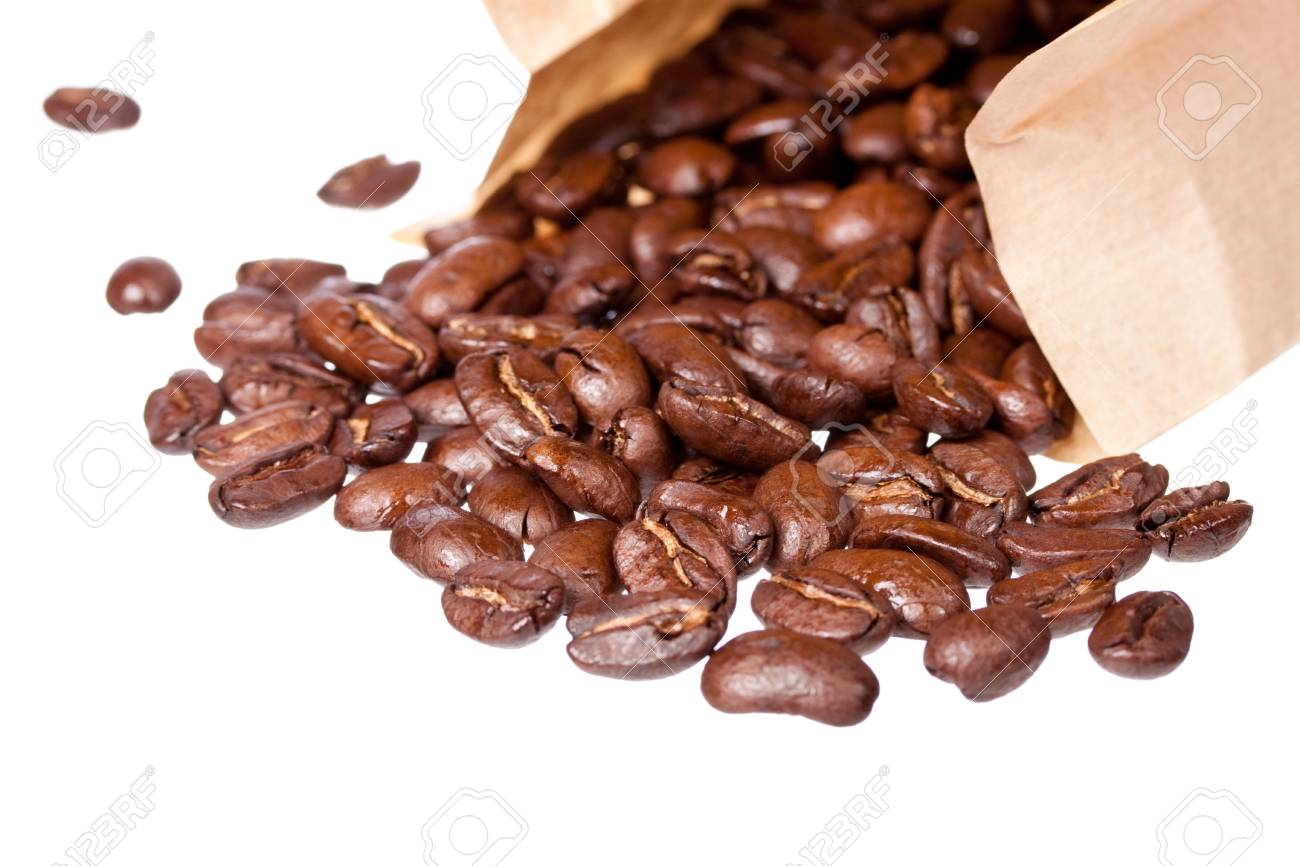 Coffee beans in sack isolated on white background Stock Photo - 12205450