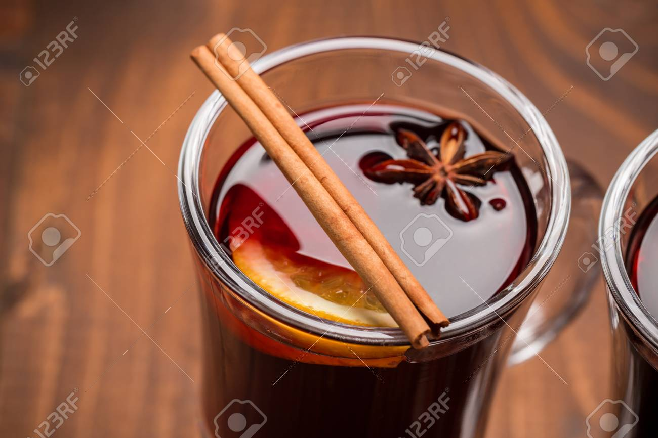 Christmas Hot Mulled Wine With Spices On A Wooden Table The Stock