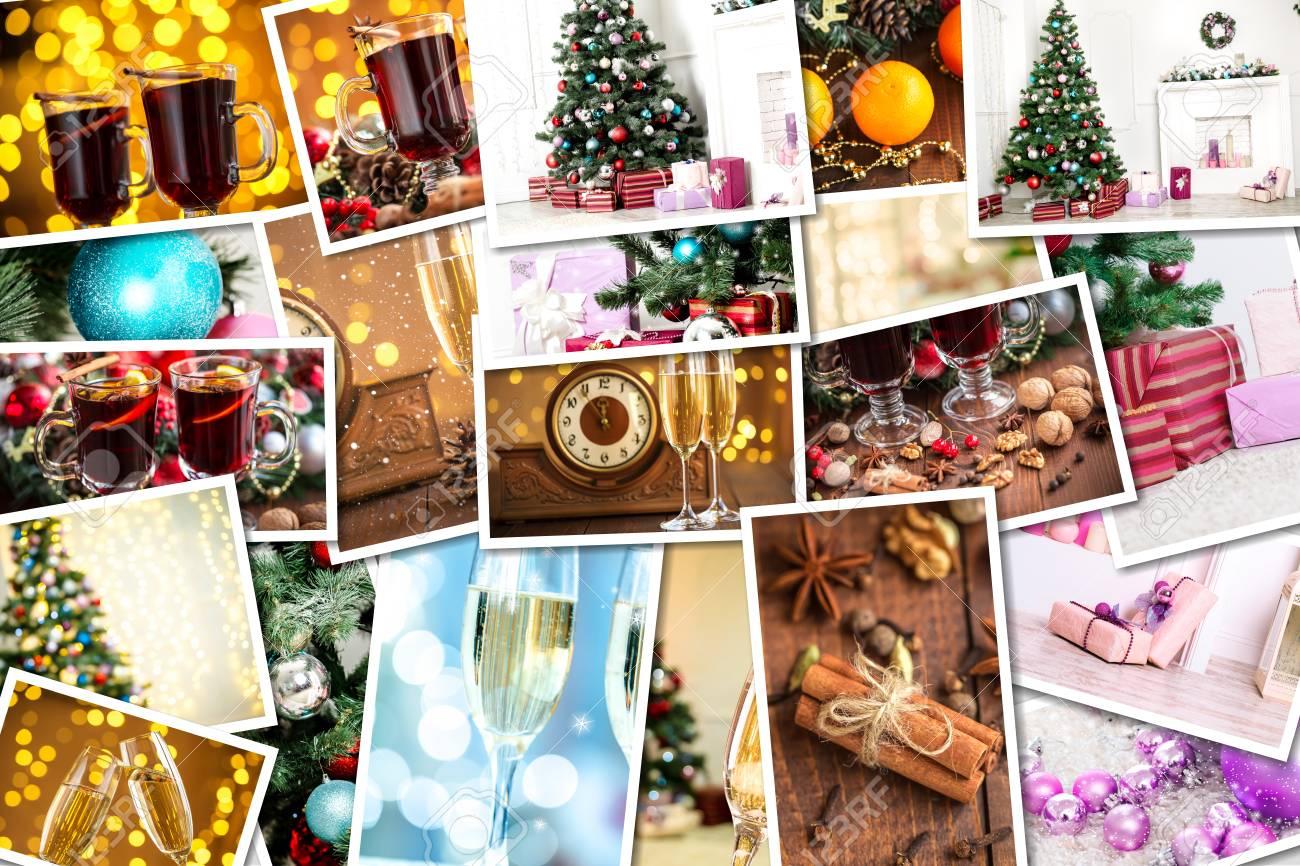 Foto Collage Di Natale.Immagini Stock Collage Di Natale Con Foto Di Abete Rosso Champagne Vin Brule Arancia Bokeh E Decorazioni Image 48053464