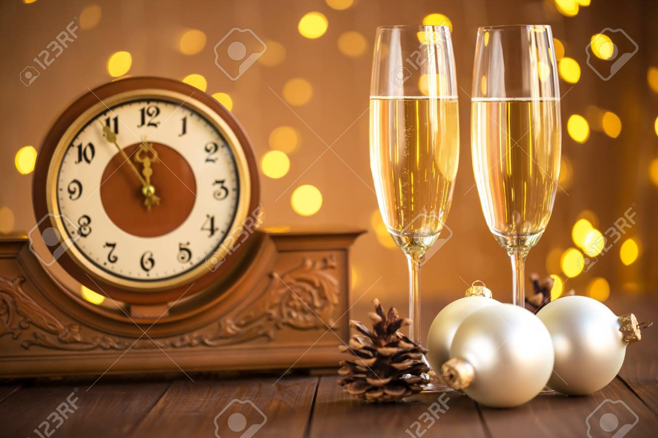 Christmas Card. Glasses Of Champagne On New Year\'s Eve On The ...
