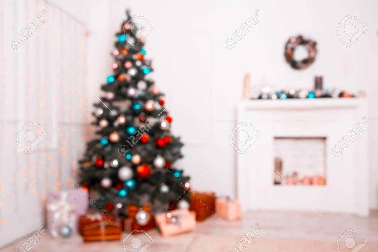 Beautiful New Year Room With Decorated Christmas Tree, Gifts.. Stock ...