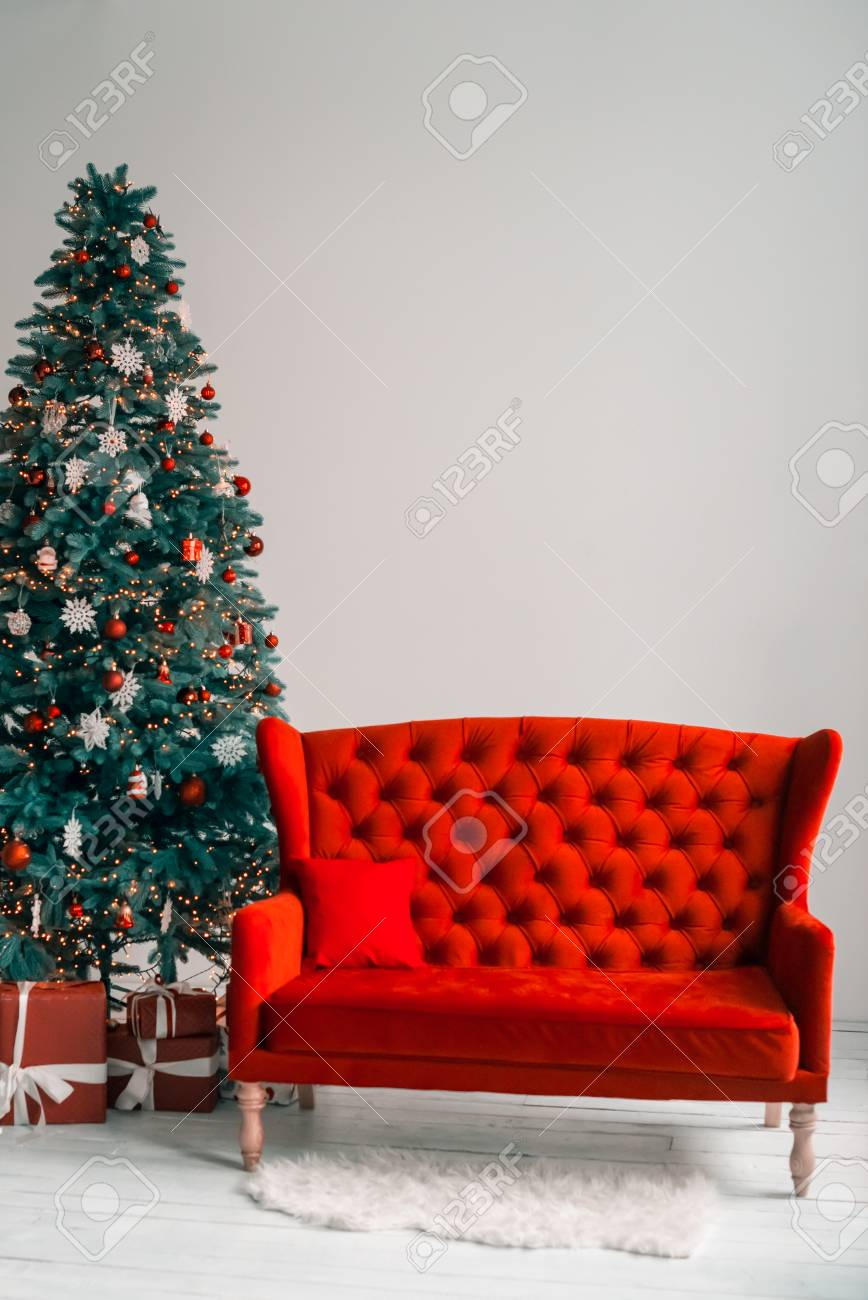 Beautiful Background Living New Year Room With Decorated Christmas ...