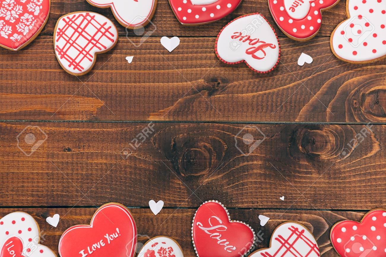 Galletas En Forma De Corazón Para El Día De San Valentín. Marco Con ...