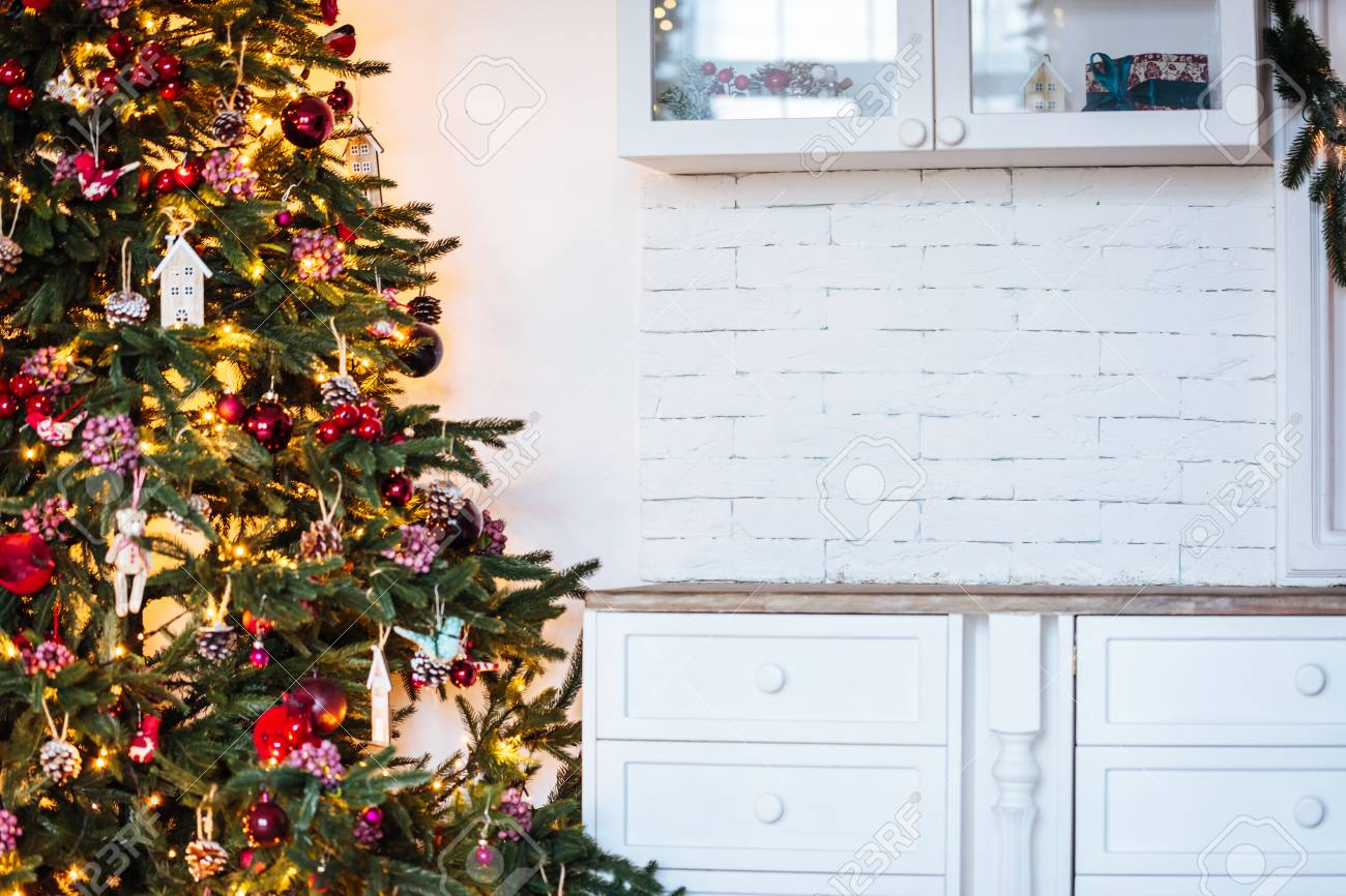 Christmas Tree In Christmas Living Room Beautiful New Year Decorated Stock Photo Picture And Royalty Free Image Image 91248116