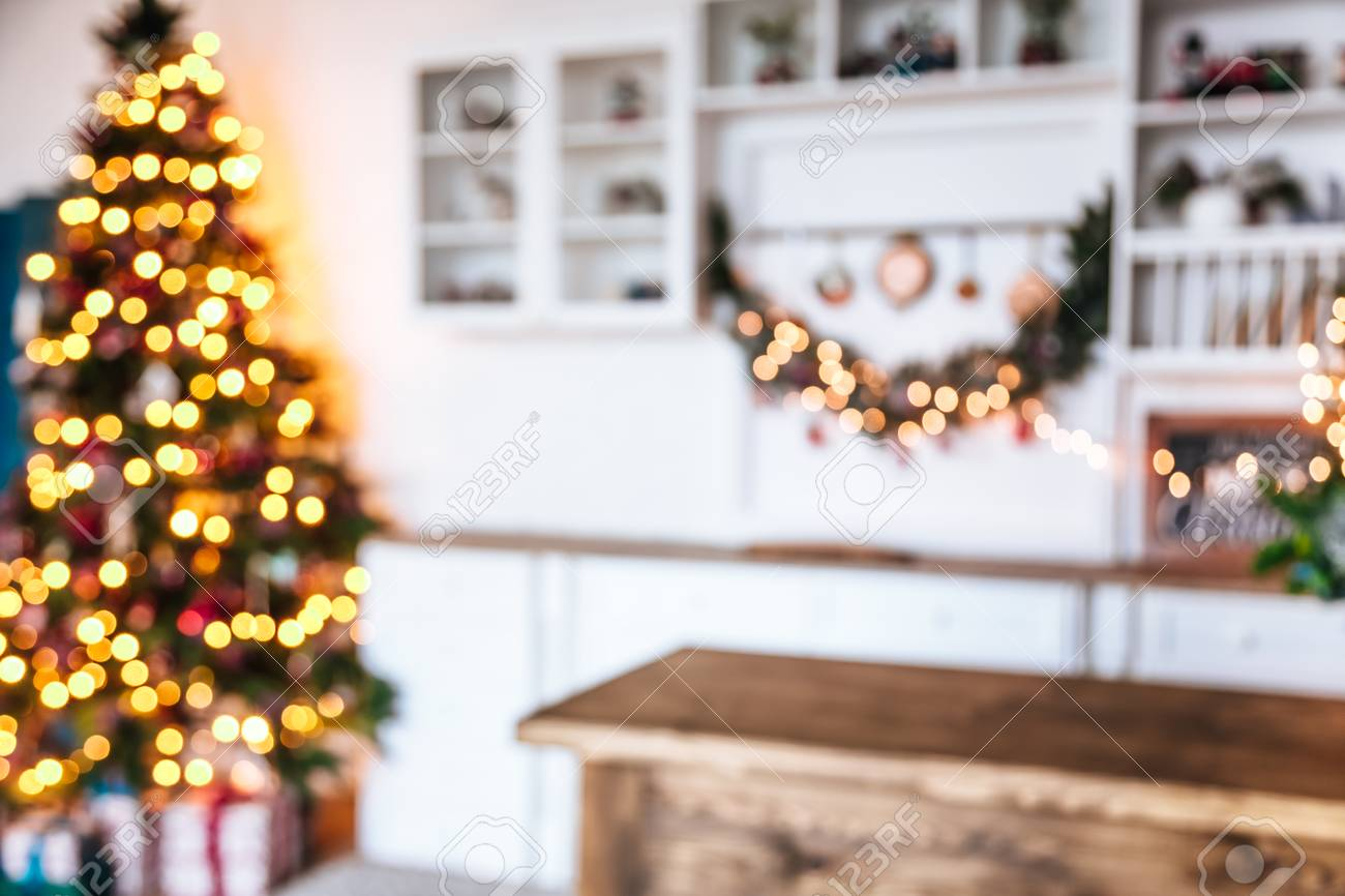 Defocused Background Living Room With Christmas Tree Stock Photo ...