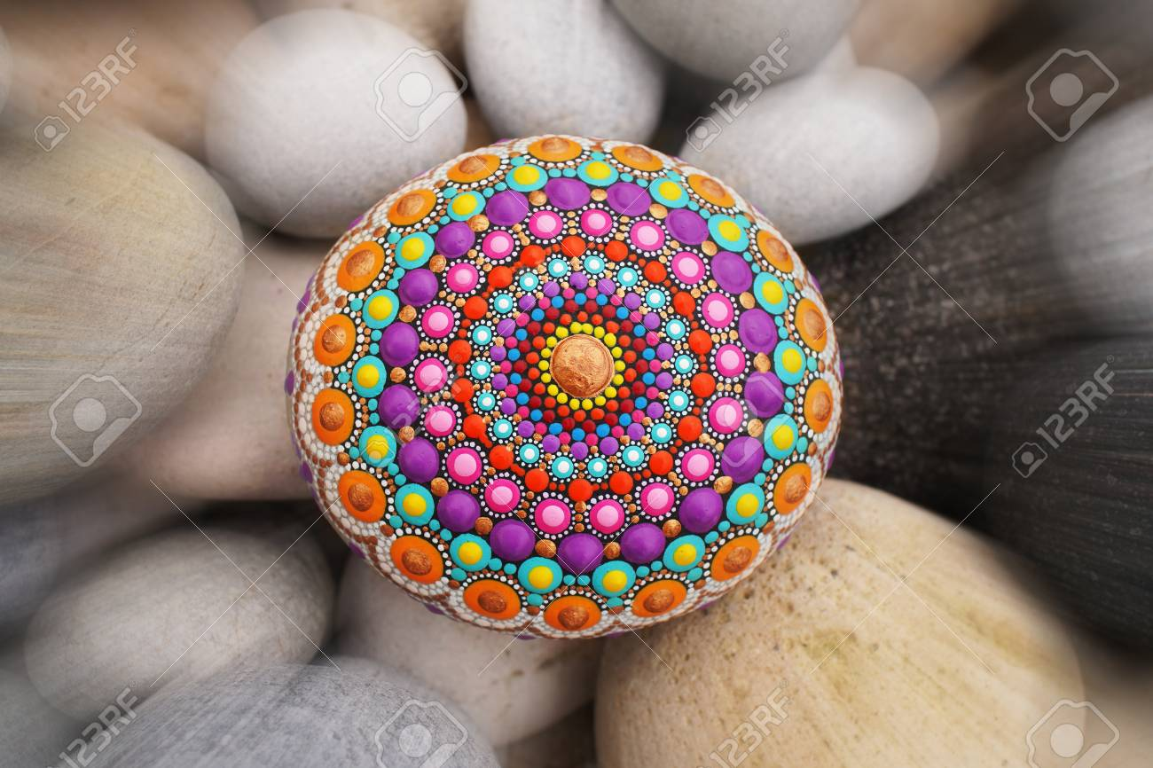 881548ae254d4 Beautiful mandala hand painted on a sea stone, with pebbles