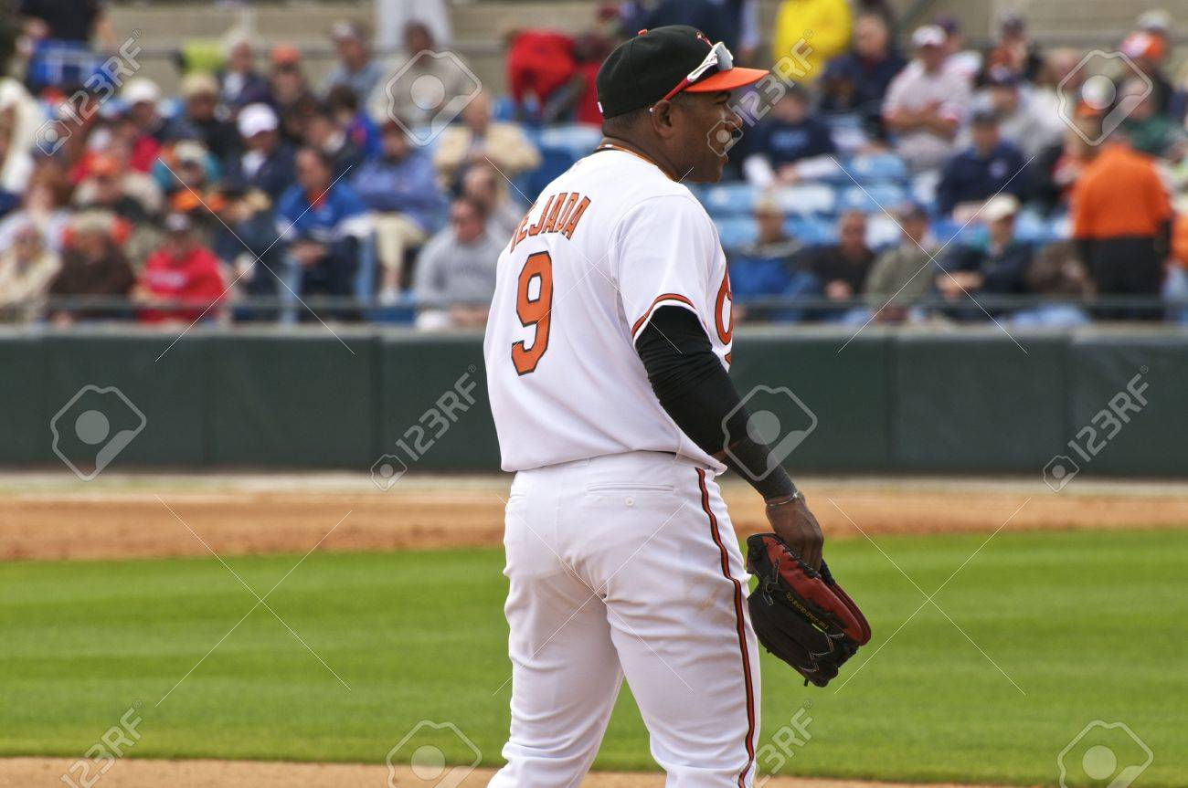 SARASOTA, FLORIDA - MARCH 3: Miguel Tejada of the Baltimore Orioles plays 3rd Base for the first time in his career against the Tampa Bay Rays on March 3, 2010 in Sarasota, Florida. Stock Photo - 10807726