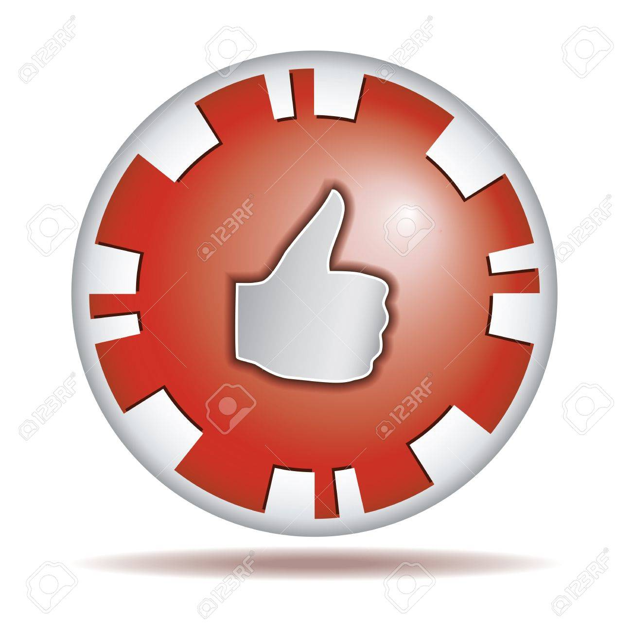 Like Big Thumb Up Shiny Red Round Button Isolated On White Royalty