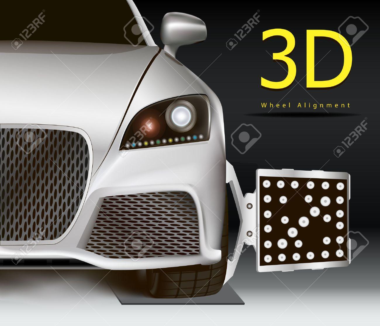 Image-Werbung Für Die 3D-Achsvermessung-Service. Modernen Auto Mit ...