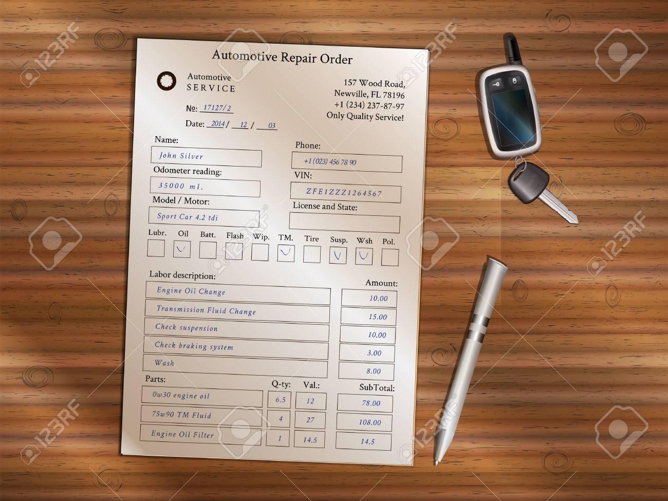 auto repair order forms