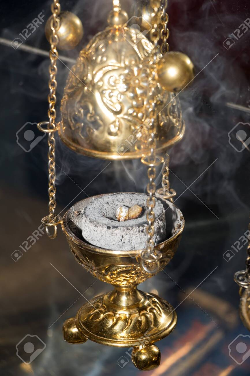 Thurible Triple Chain Incense Burner In Clouds Of Smoke Golden Stock Photo Picture And Royalty Free Image Image 126879942