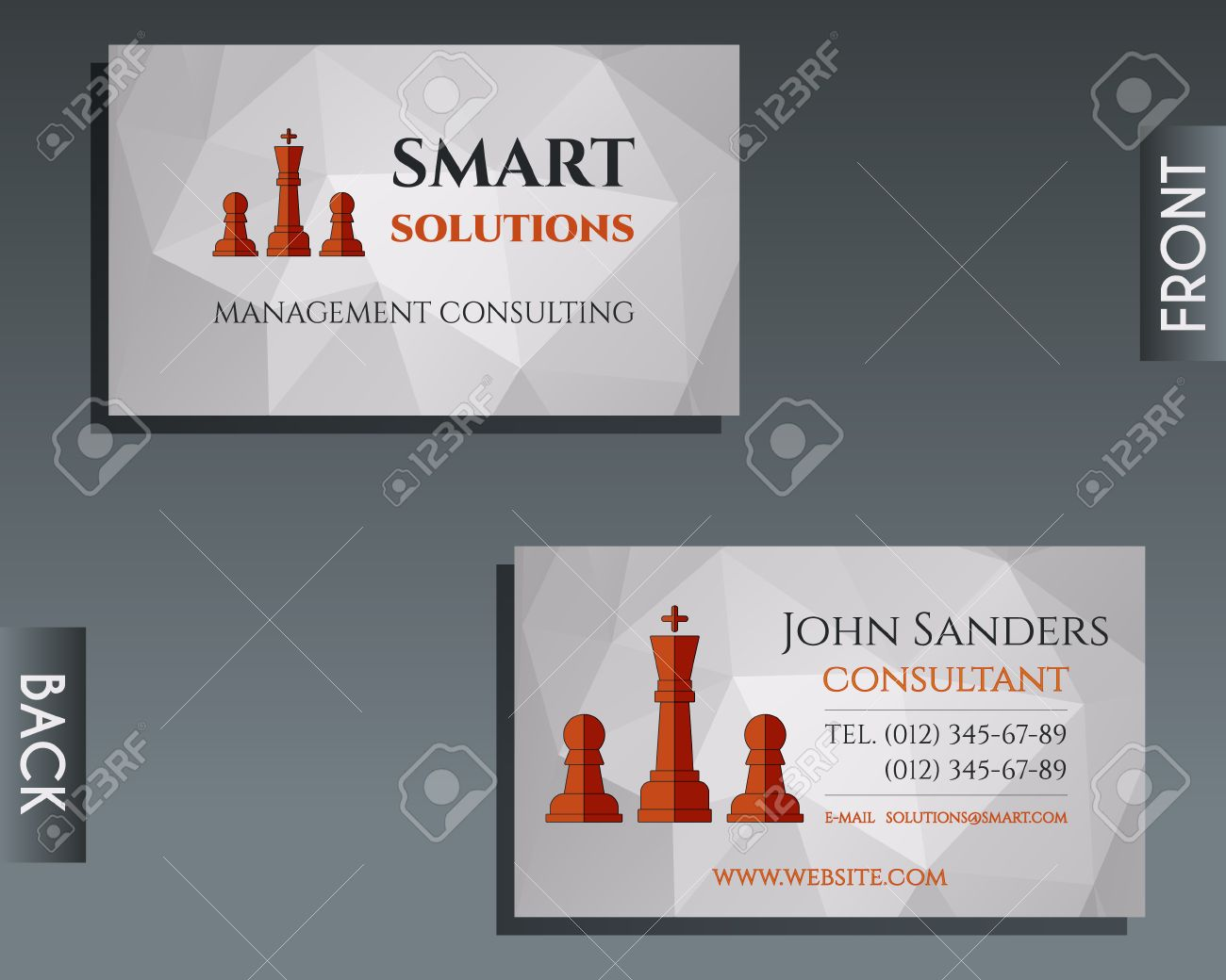 Business And Management Consulting Visiting Card Template Chess