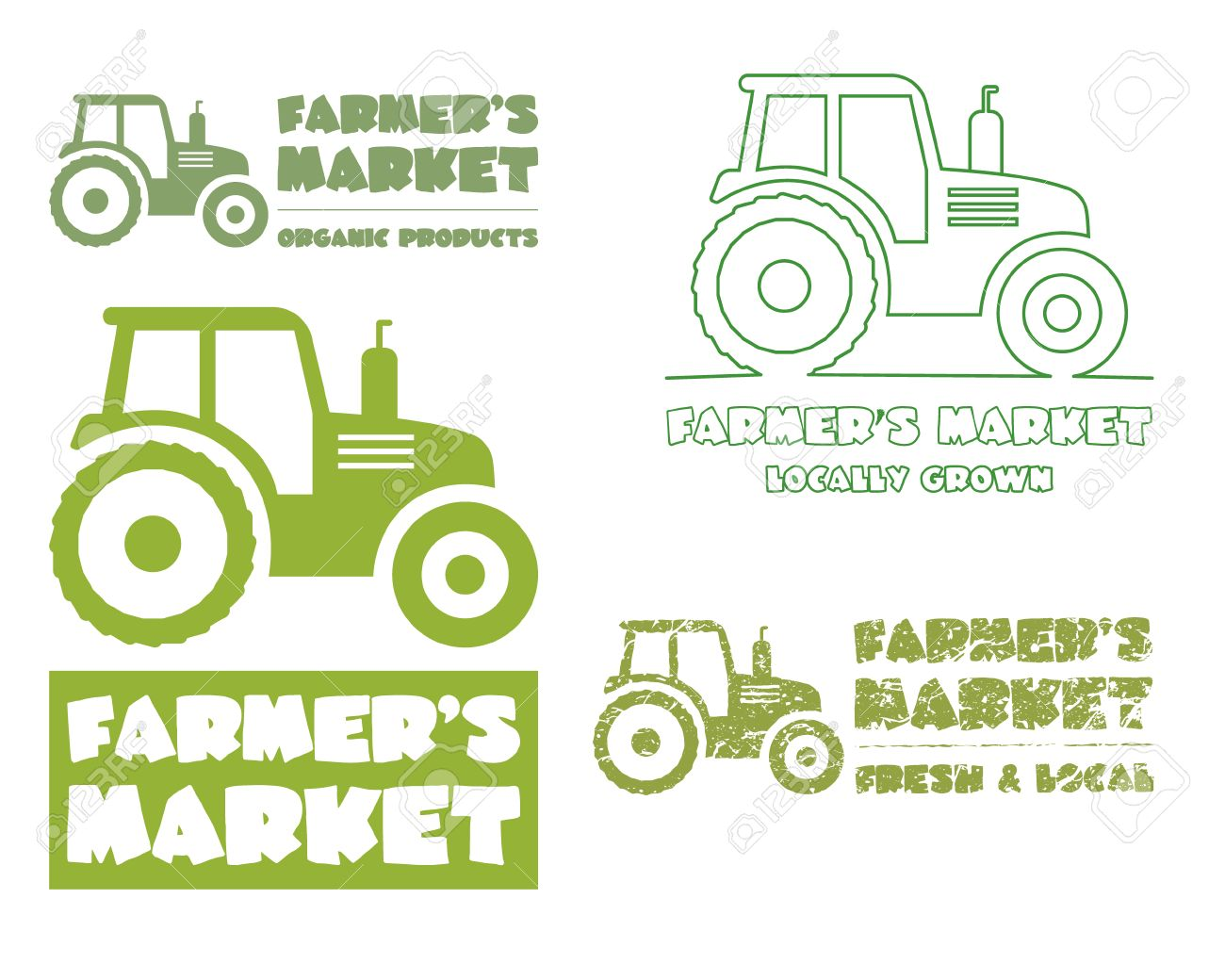 set of tractor design template harvest or farm icon thin line
