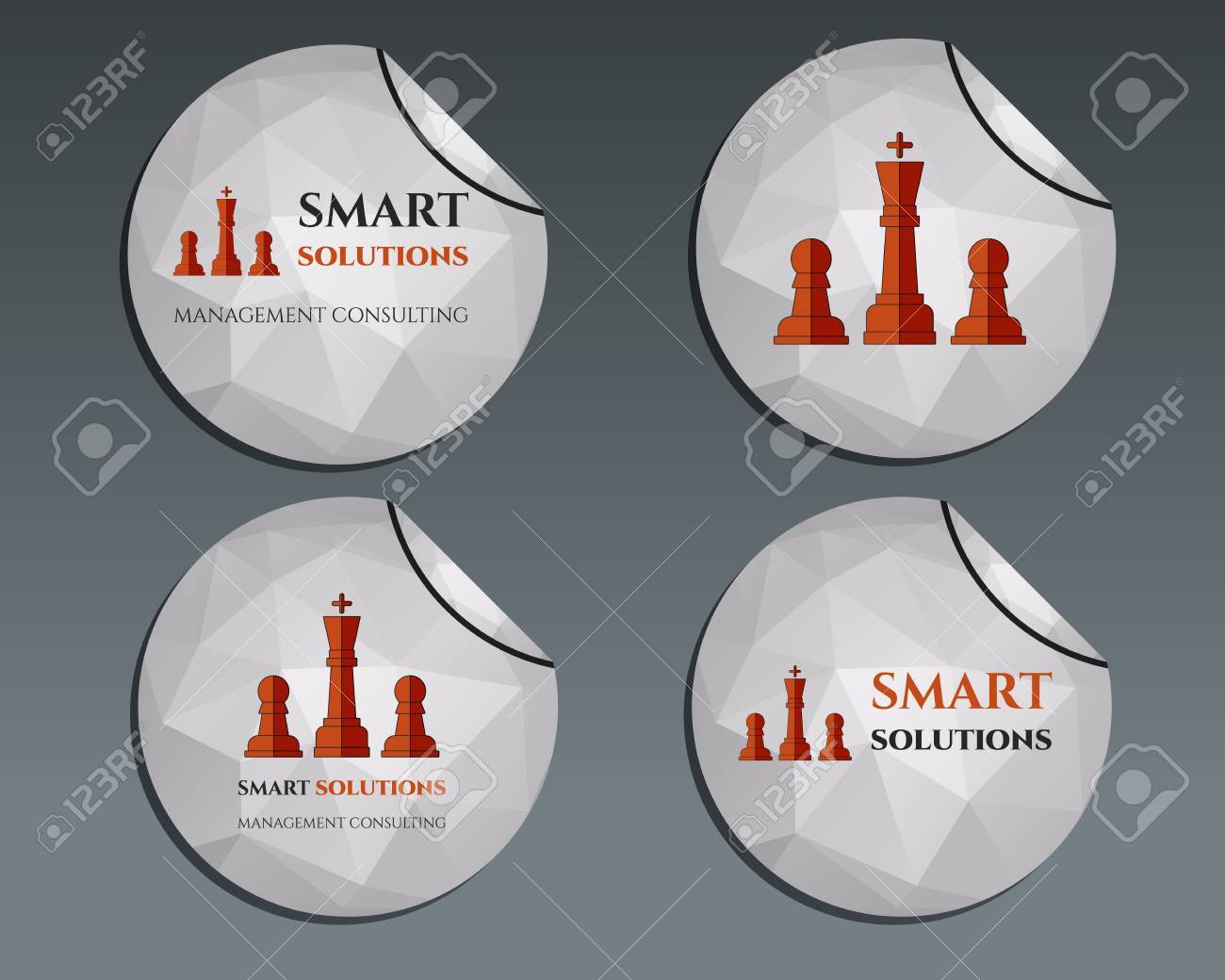 Set of labels - stickers  Chess Smart solutions design template