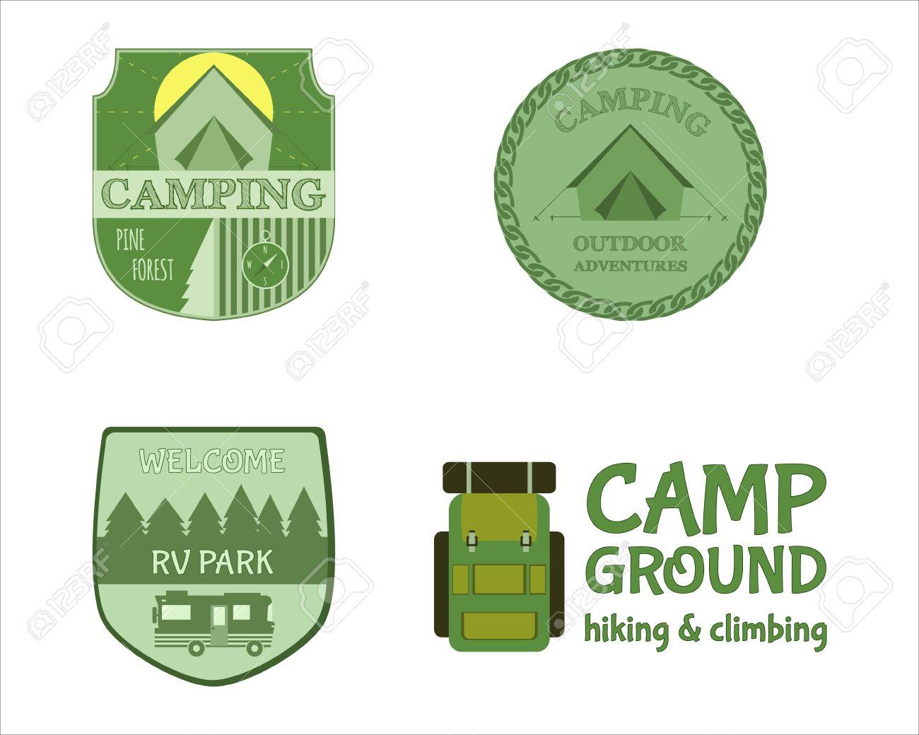 Adventure Outdoor Tourism Travel Logo Vintage Labels Design Vector ...