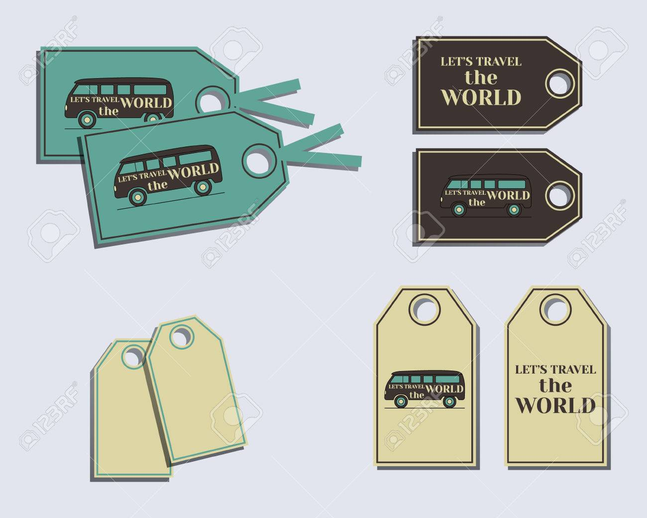 Travel And Camping Stickers And Labels Design Layout Template - Sticker layout template