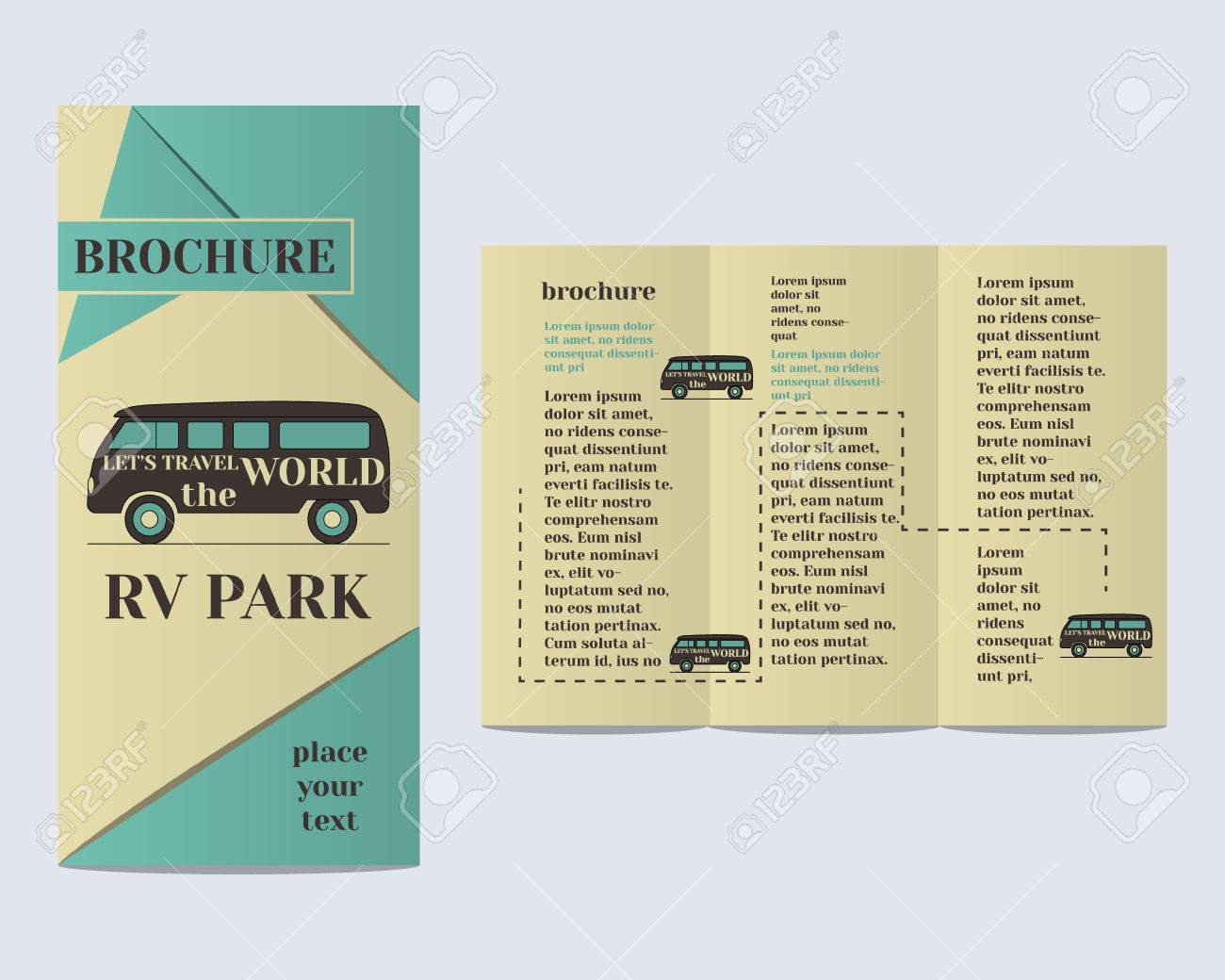 travel and camping brochure flyer design layout template rv