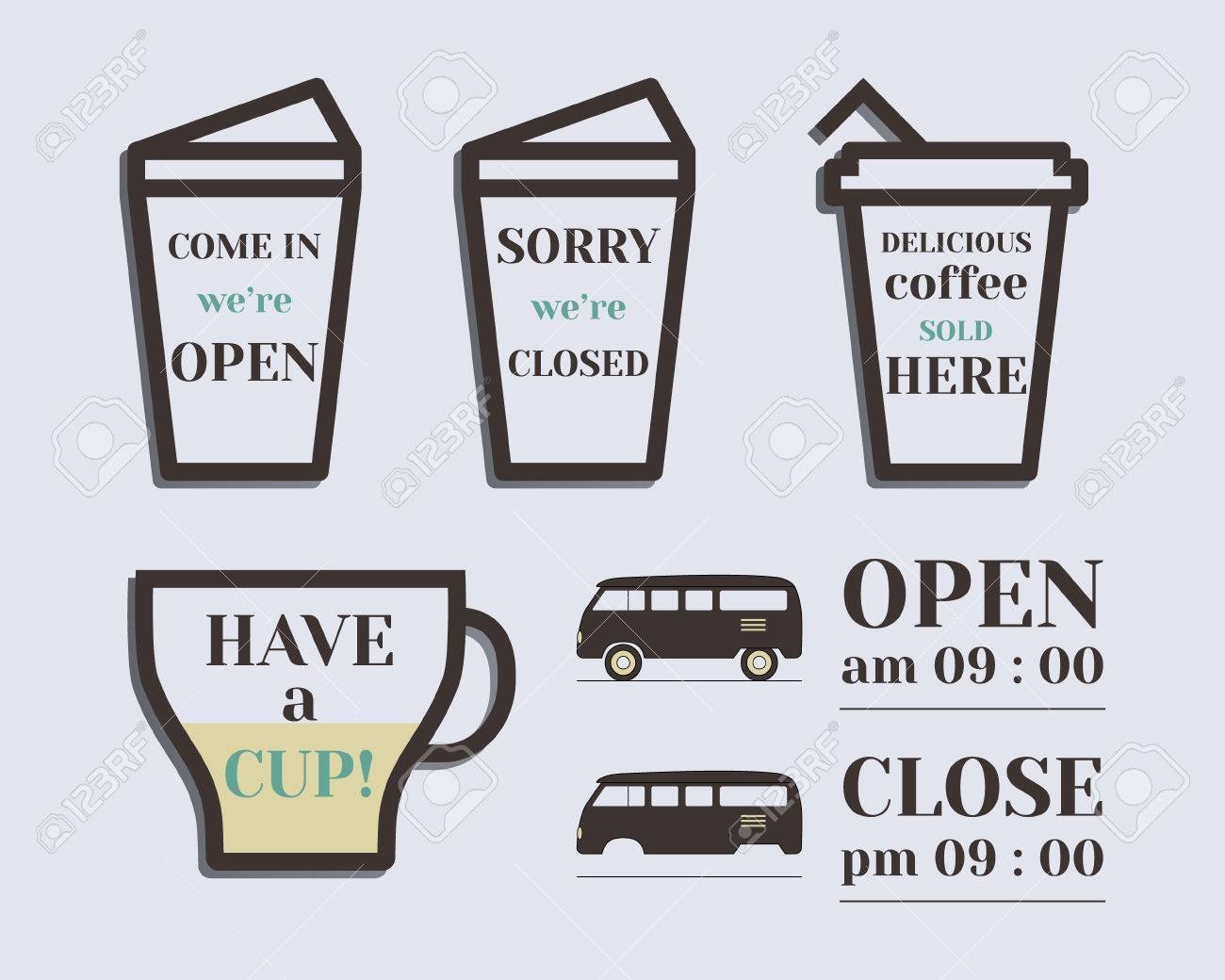 Coffee Signs Open And Closed Elements Rv Park Campground Retro Vintage