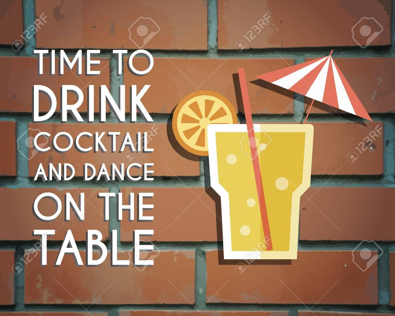 Poster design keywords - Retro Poster Design For Cocktail Lounge Bar Cocktail Party Concept With Keywords Sign Vintage