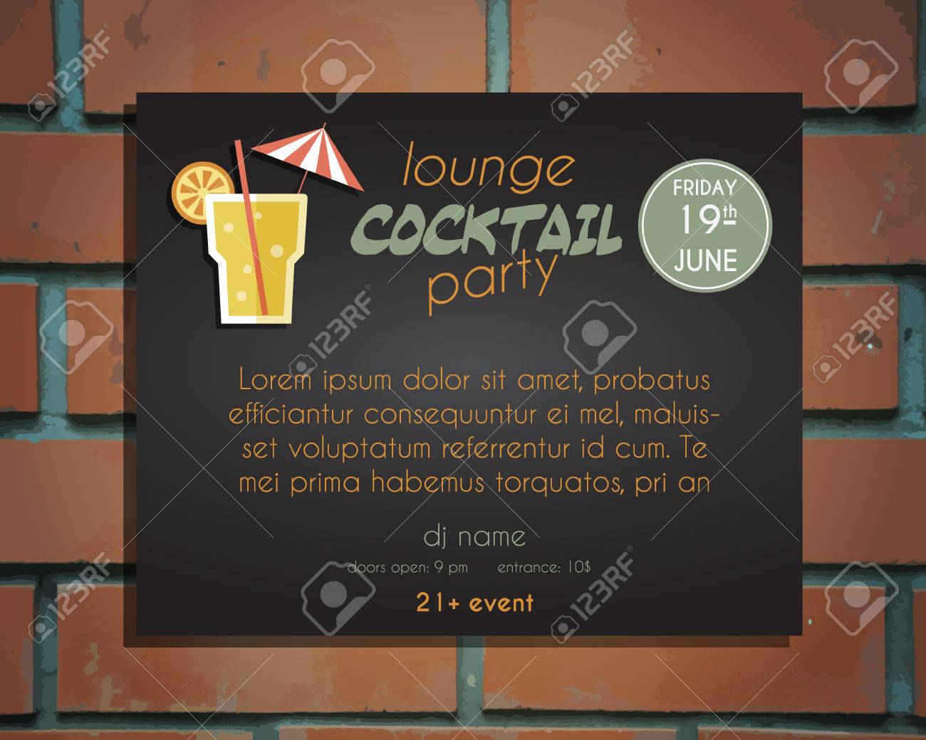 lounge cocktail party poster invitation template screw driver lounge cocktail party poster invitation template screw driver cocktail vintage design for bar or