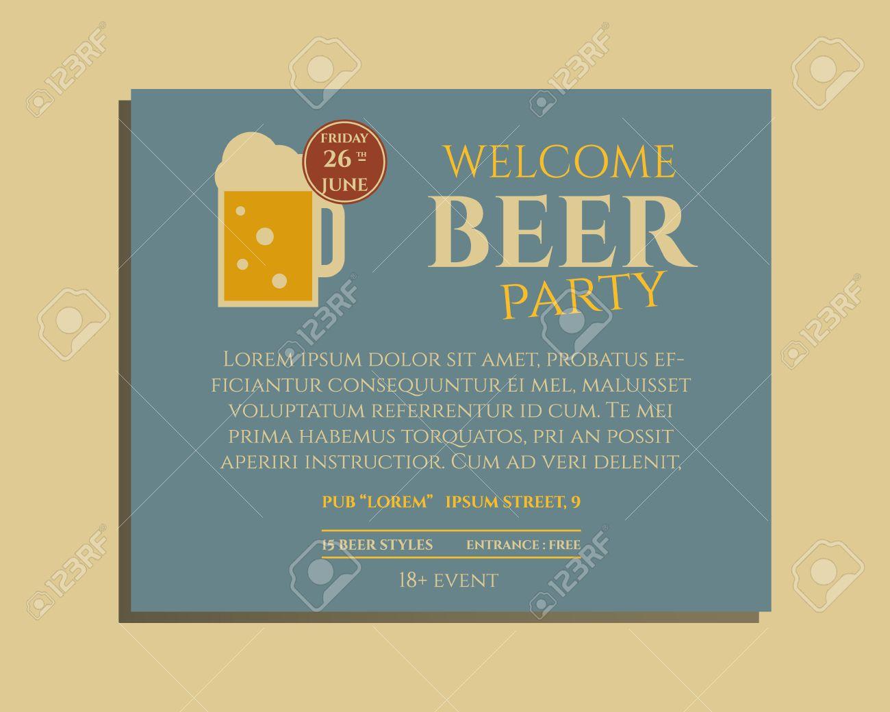 bier-party-plakat einladung vorlage mit glas bier. vintage-design, Kreative einladungen
