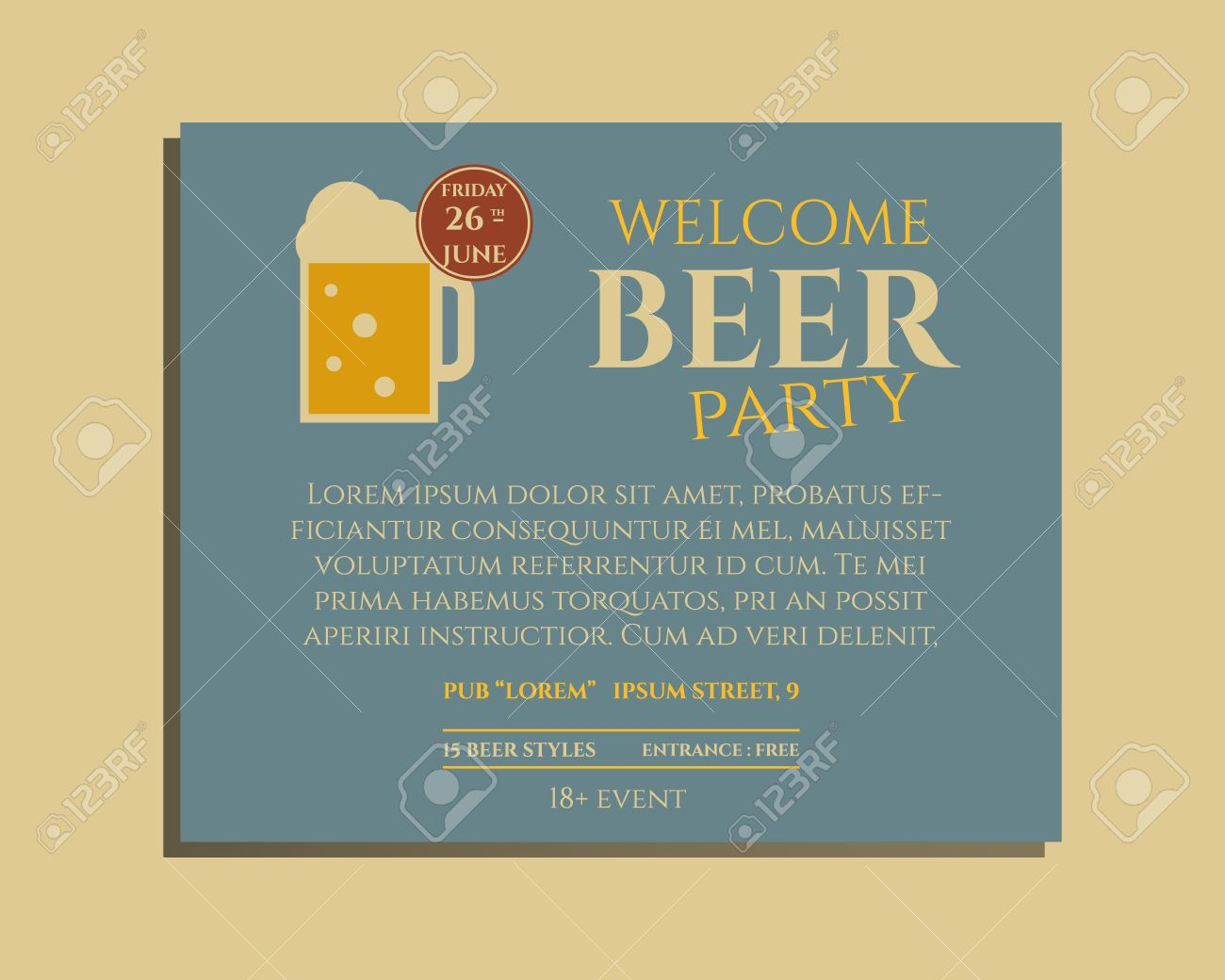Beer party poster invitation template with glass of beer vintage beer party poster invitation template with glass of beer vintage design for club pub stopboris Gallery