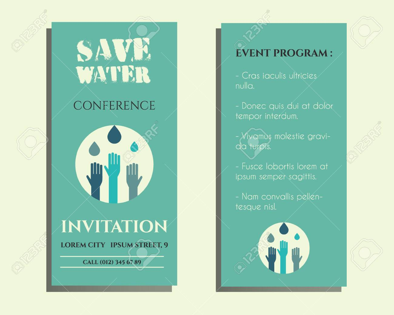 Save water conference flyer invitation template with drops and save water conference flyer invitation template with drops and hands logo template isolated on bright stopboris Images