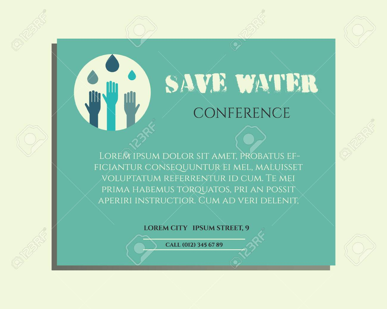 Save Water Conference Poster Invitation Template With Drops And