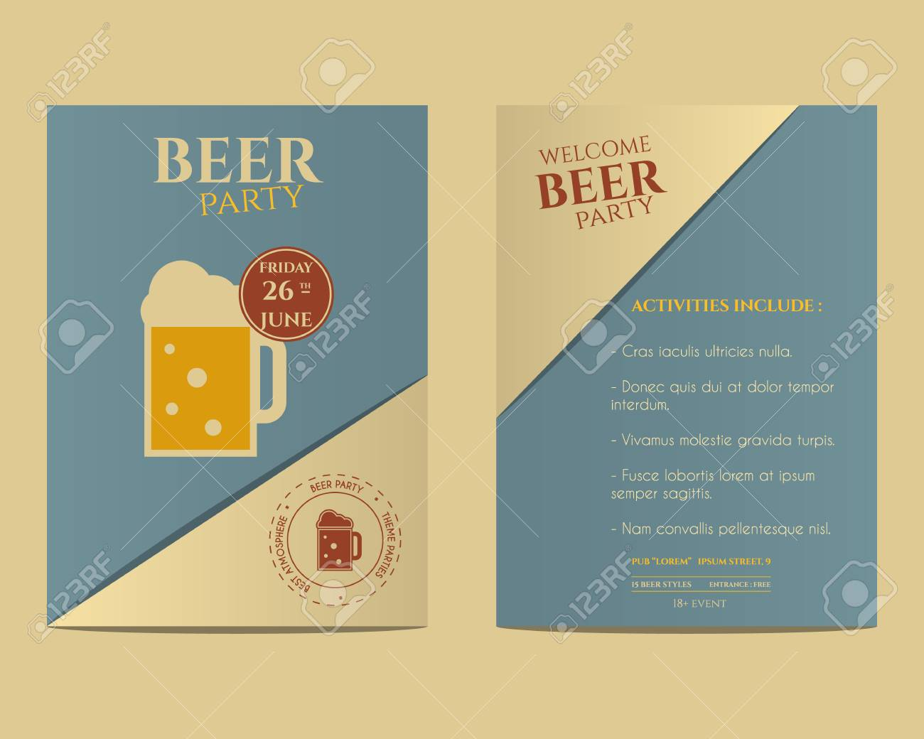 Beer party flyer invitation template with glass of beer vintage beer party flyer invitation template with glass of beer vintage design best for club stopboris Gallery