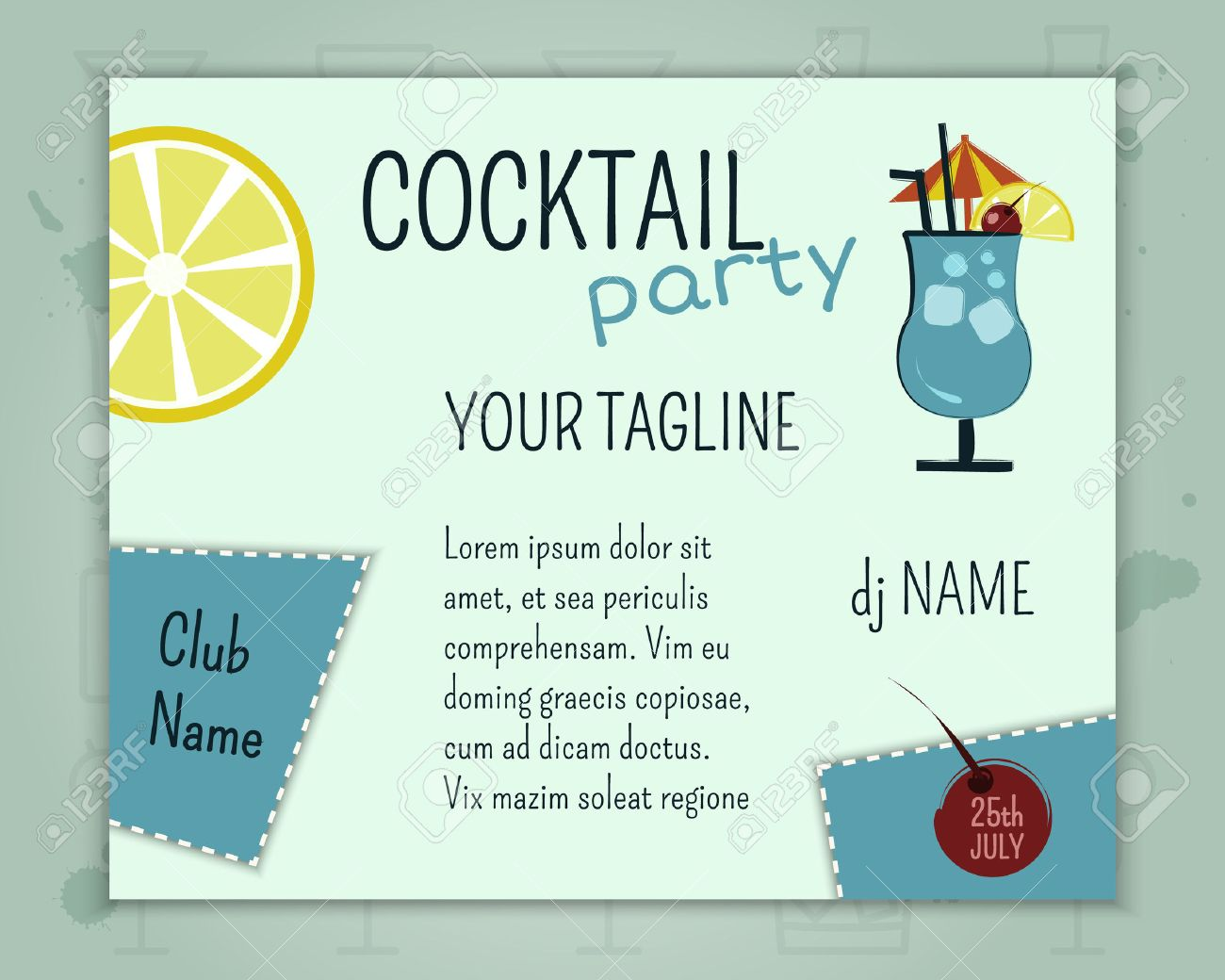 summer cocktail party poster and banner layout template with