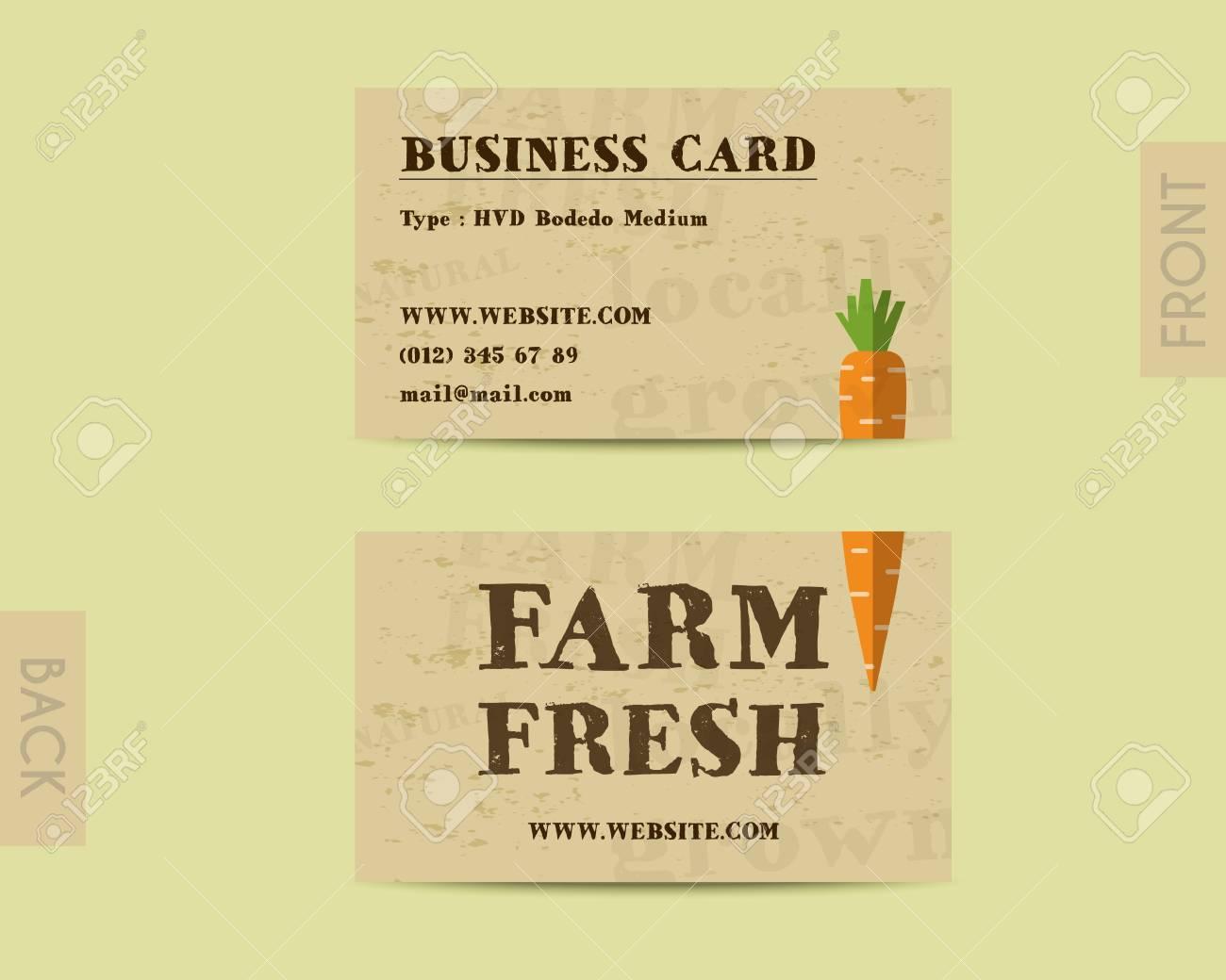 Legant Carte De Visite Farm Fresh Modele Avec La Carotte Clip Art