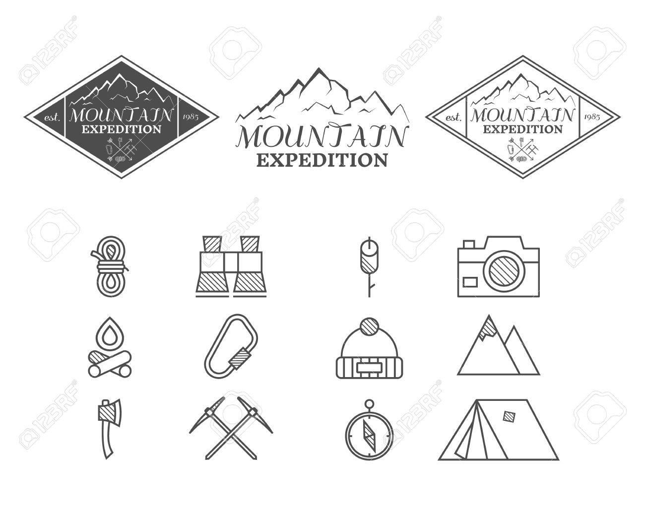 Conjunto De Placa Campo Monocromático Montaña, Y Plantillas De ...