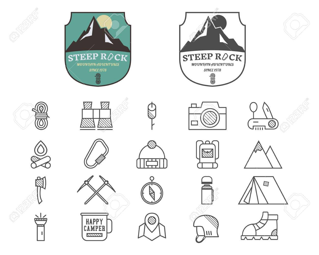 Set Of Summer Mountain Camp Badge, Logo And Label And Line Icon ...