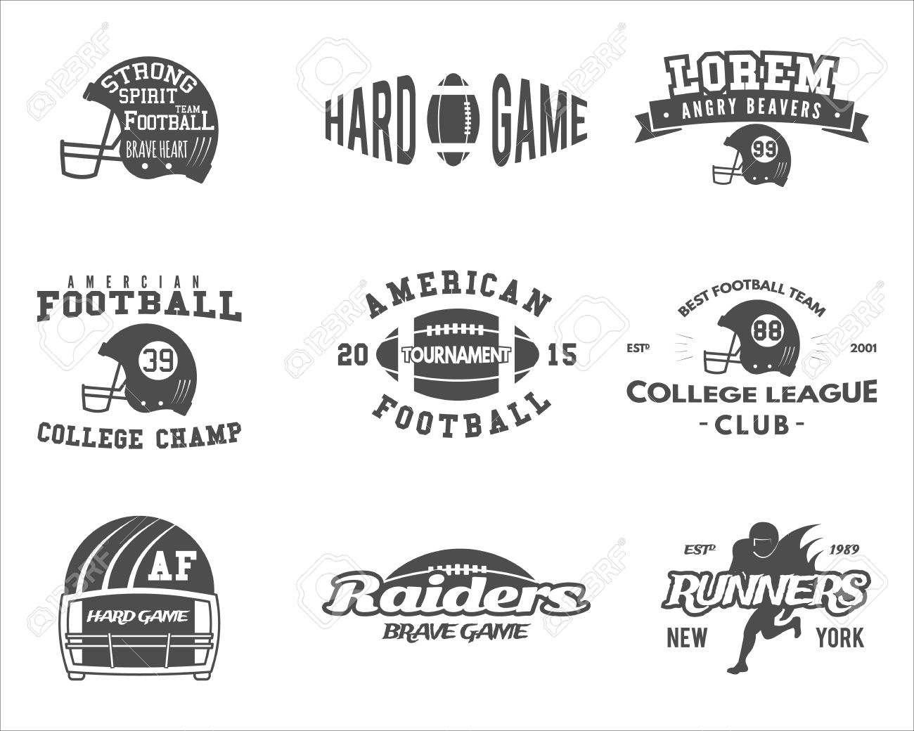 College Rugby And American Football Team Badges d9a3415c9