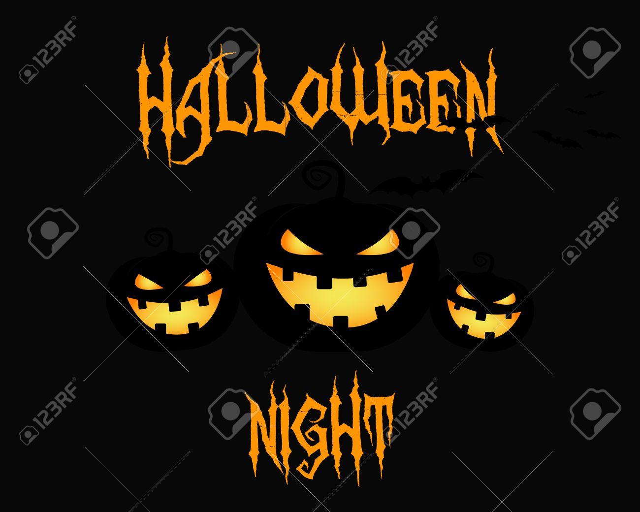 Happy Halloween Party Night Card. Halloween Pumpkin, Dark Design ...