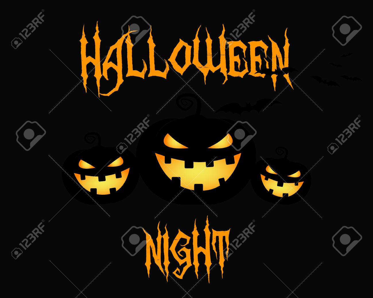 Happy Halloween Party Night Card. Halloween Pumpkin, Dark Design.  Background, Poster And