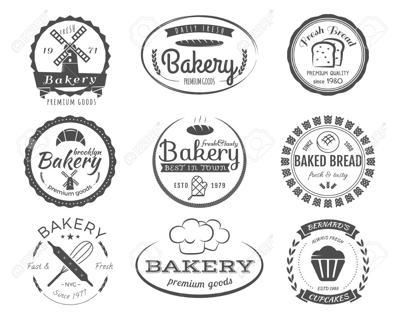 Set of bakery labels badges and design elements symbols fresh set of bakery labels badges and design elements symbols fresh bread cakes pronofoot35fo Image collections