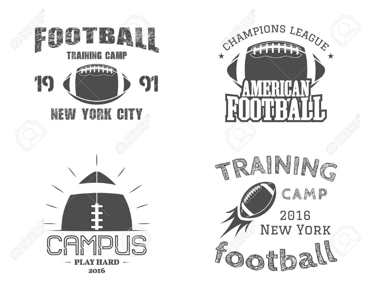 Set of american football team campus badges, , labels, insignias in retro monochrome style. - 46348188