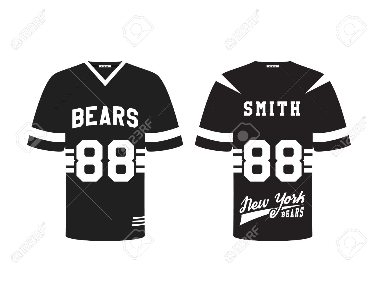 Design t shirt label - American Football Uniform T Shirt Design With Team Logo Label Badge