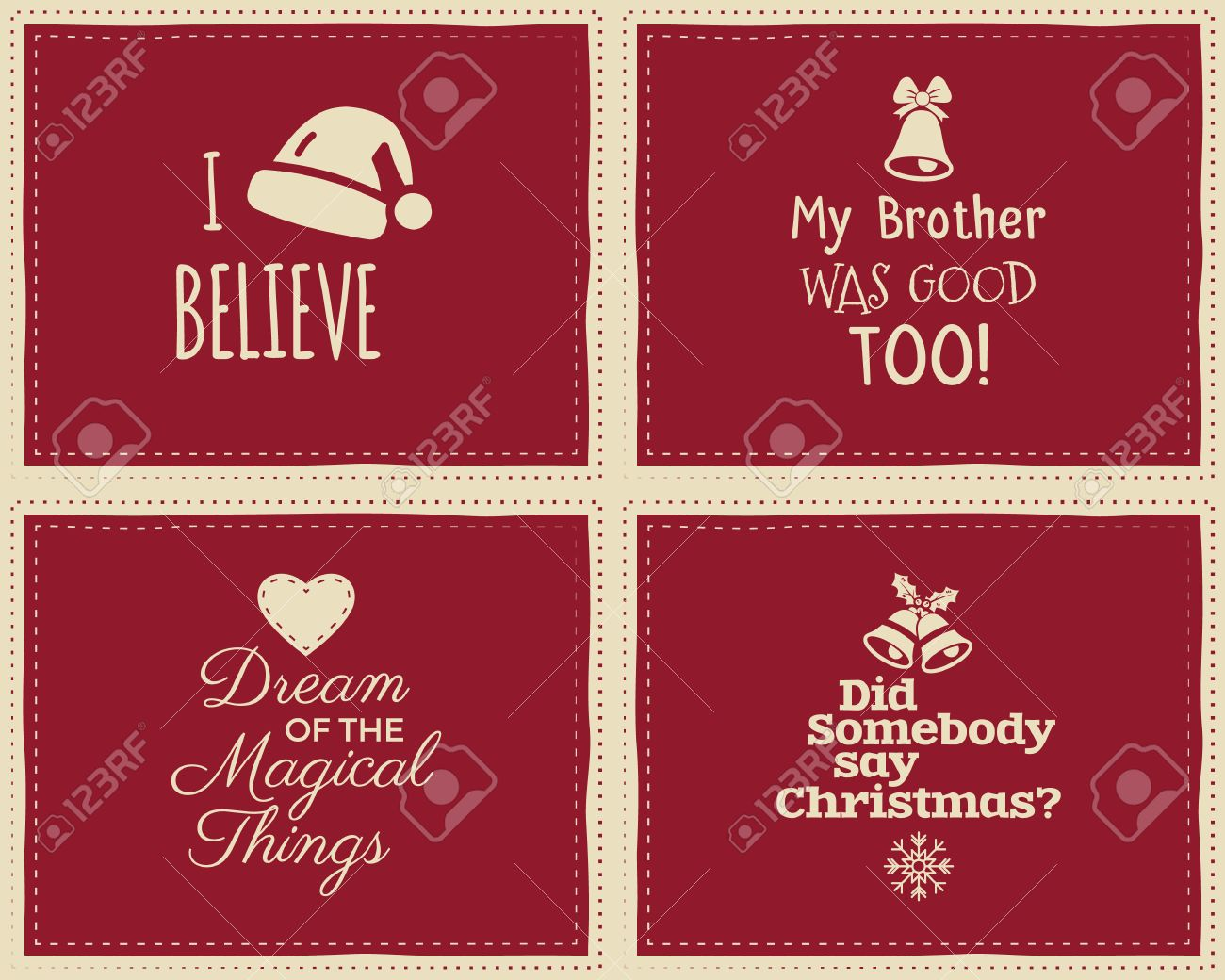 Set Of Christmas Funny Signs, Quotes Backgrounds Designs For ...