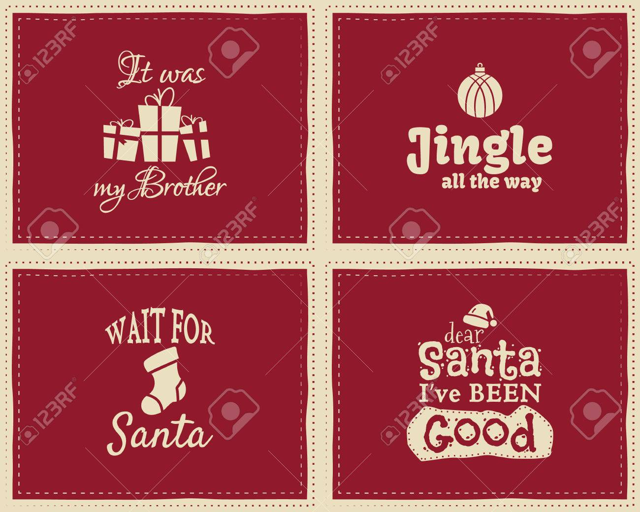 Set Of Unique Christmas Funny Signs Quotes Backgrounds Designs