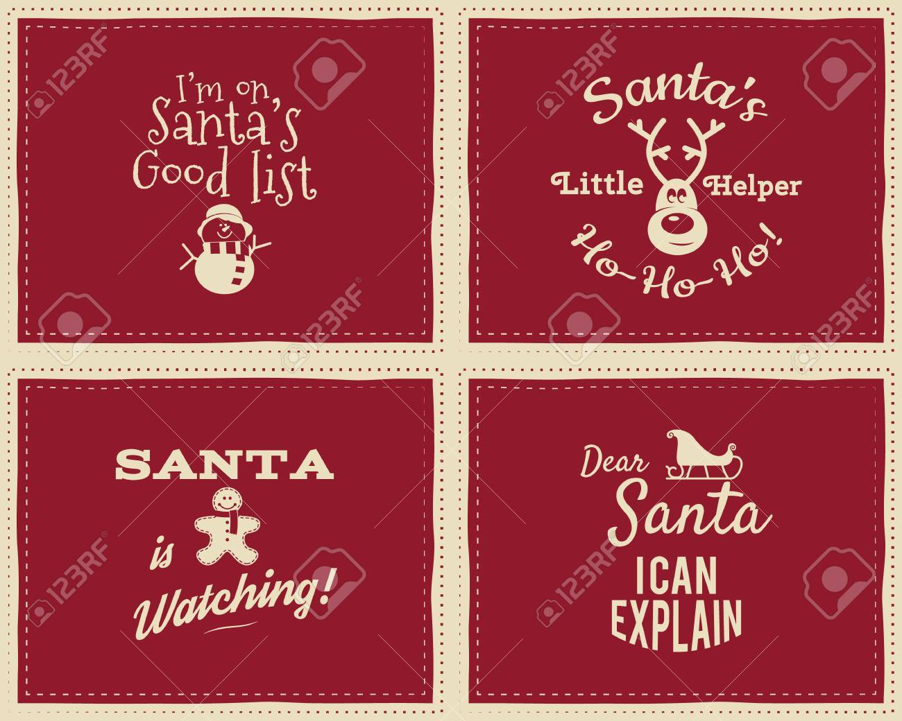 set of unique christmas funny signs, quotes backgrounds designs