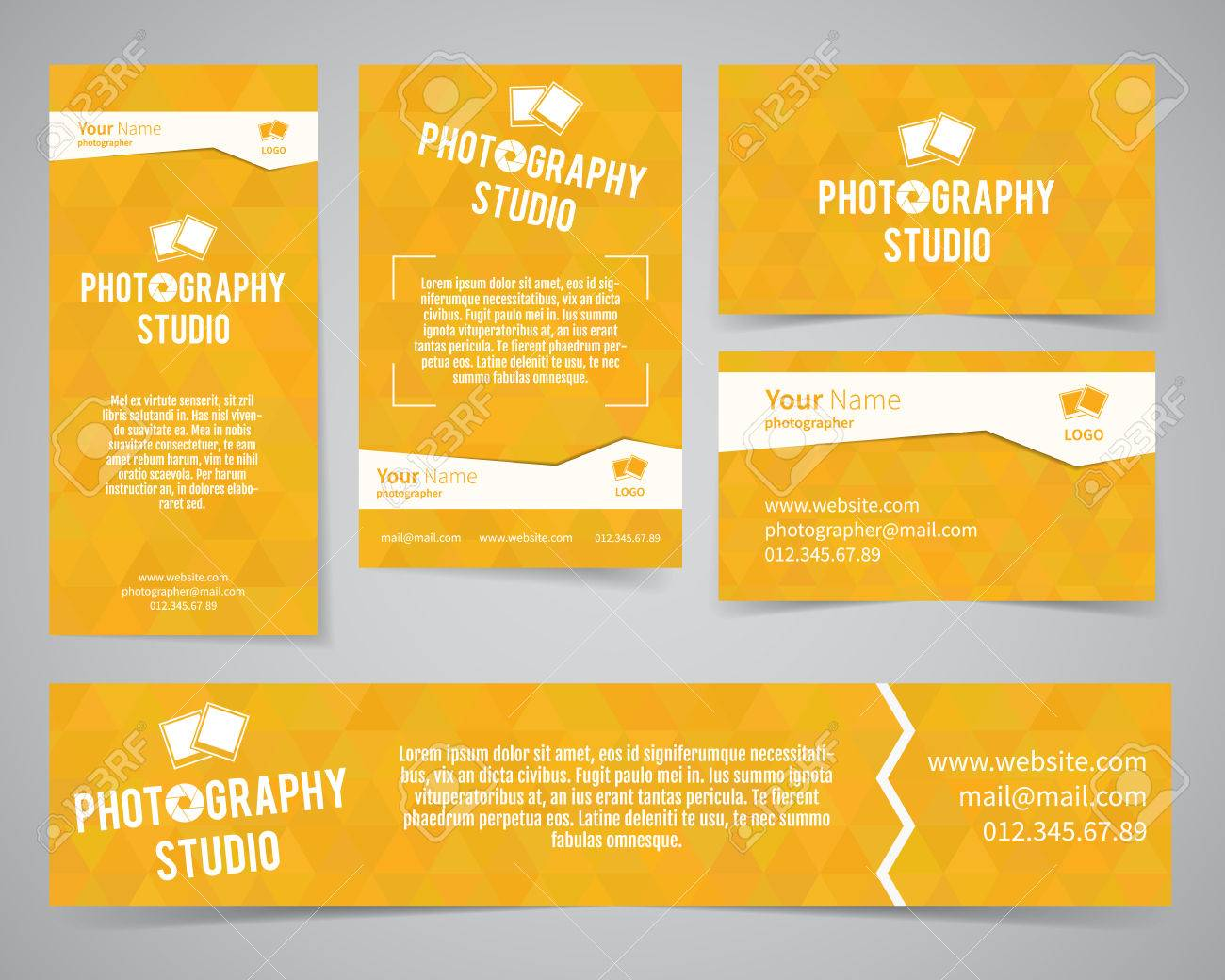 Modern light identity set business card banner flyer poster business card banner flyer poster templates photography studio reheart Choice Image