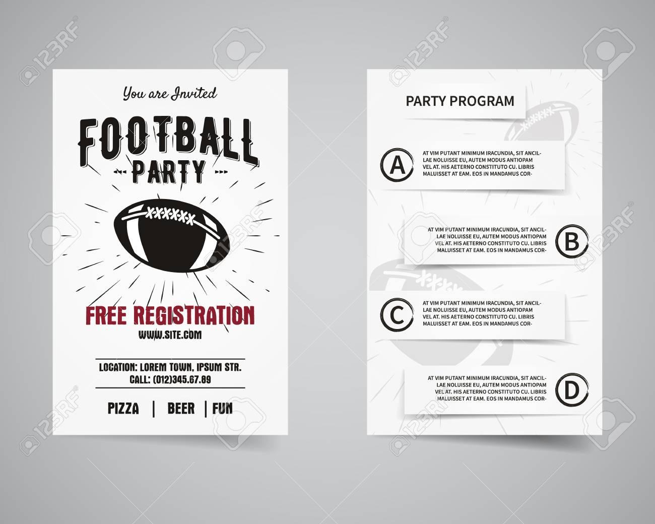 American-Football-Party Vorder-und Rückseite Flyer Vorlage Design ...