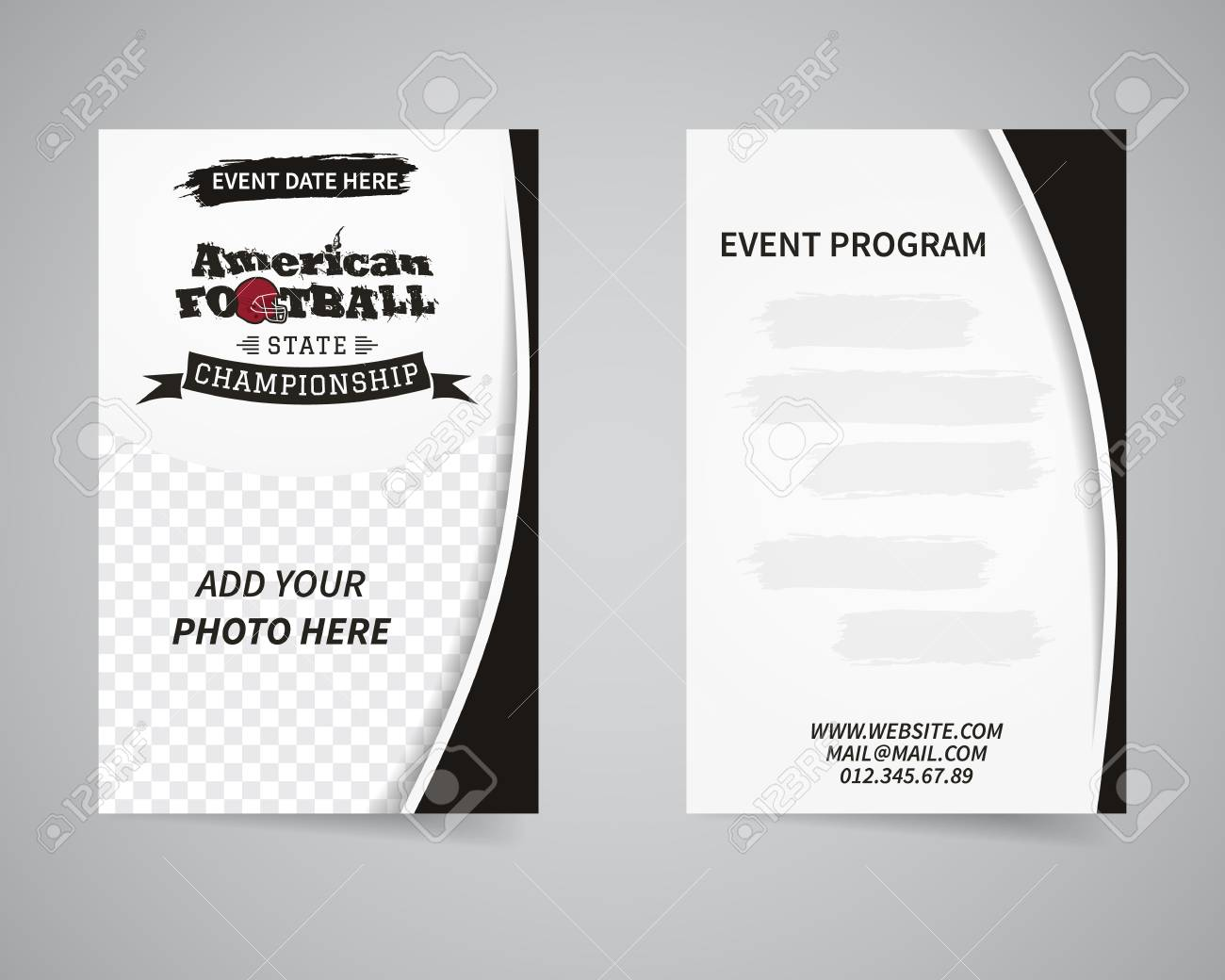 American Football Back And Front Flyer Template Design Usa Sport Royalty Free Cliparts Vectors And Stock Illustration Image 49282110
