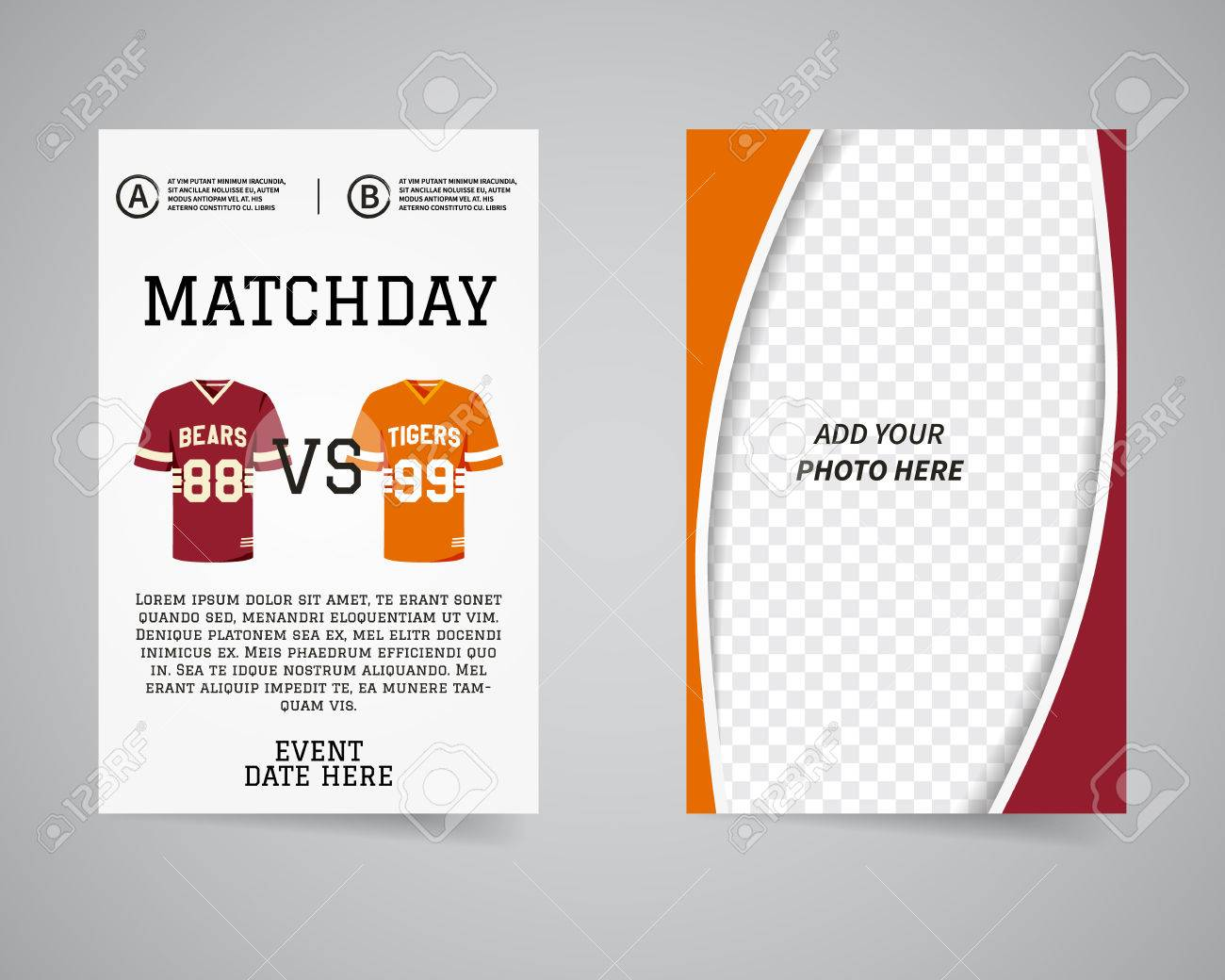 american football matchday back and front flyer template design usa sport brand identity letterhead